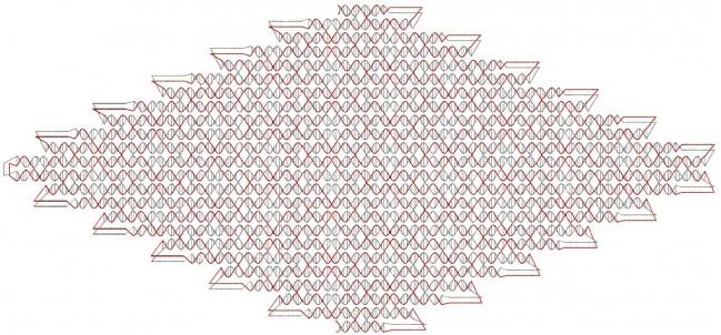 DNA 오리가미로 만든 가장 큰 구조물인 마름모꼴. 기존의 가장 큰 구조물보다 37배 크다. - DongranHan, et al./Science 제공